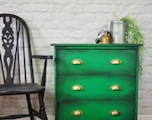 Green Painted Pine Industrial Style Chest of Drawers