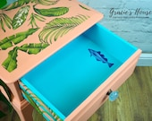 Stag Bedside Table - Coral & Turquoise - Tropical
