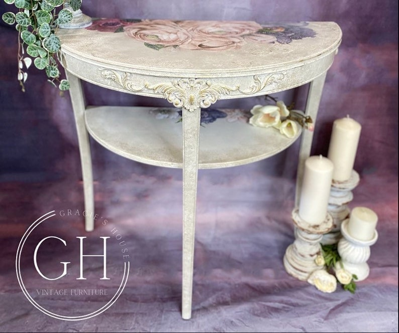 Faded Grandeur Style Demi Lune Table image 0