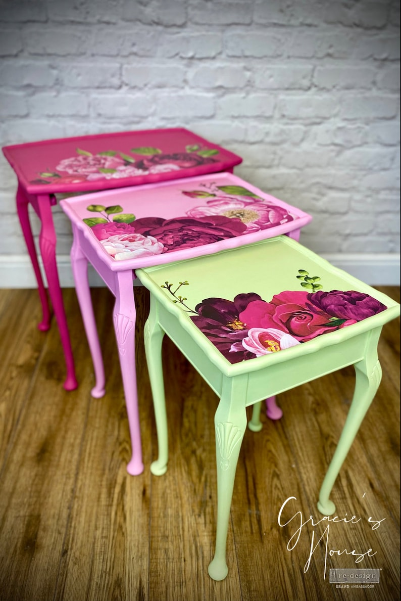 NOW SOLD  Pink & Green Floral Nest of Tables image 0