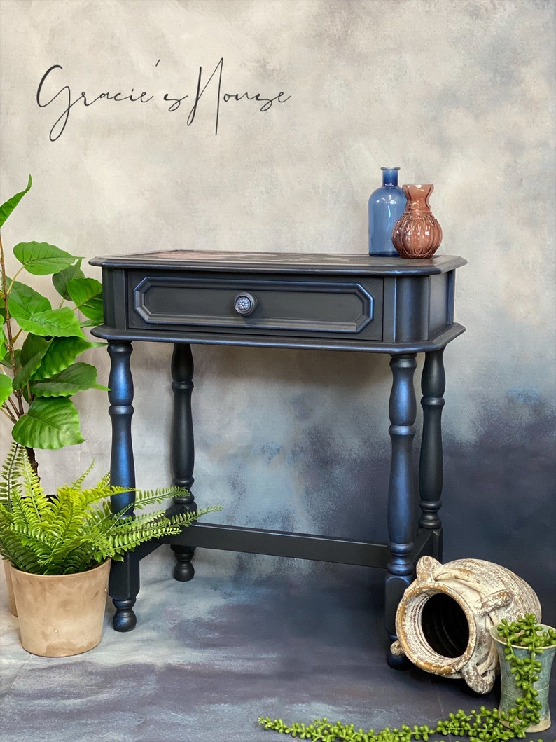 Blue Accent Table Side Table Lamp Table image 0