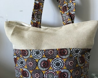 Canvas and faux leather wax bag