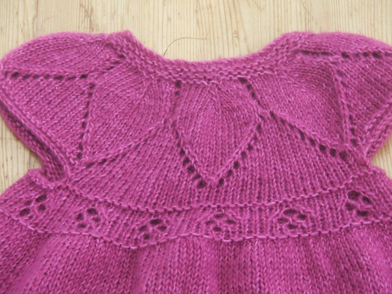 New Hand Knitted Baby or Toddlers Rose Pink Dress  Baby dress for 9-12 months old in a lovely Cotton mix yarn