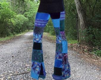 22f5a88020 Bell Bottom Pants, Flare Leg Pants, Velvet Bell Bottoms, Patchwork Pants,  Flared Leggings, Vintage Style Hippy Clothes, Festival Clothes