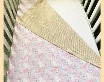 COT size cotton bedding child/'s quilt retro 41X81 vintage look Patchwork Quilt cotton blanket