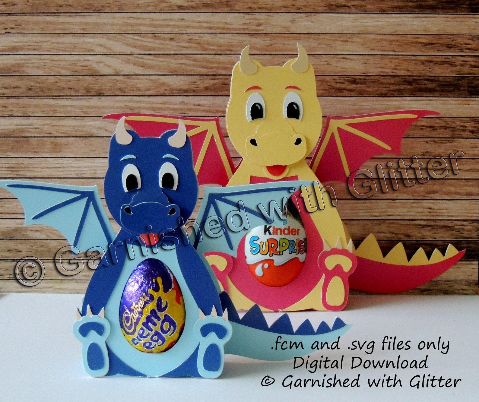 Dragon. Digital Download Cutting Files - fcm and svg. (Suitable for Kinder Surprise, Kinder JOY and Creme Egg - not included!)