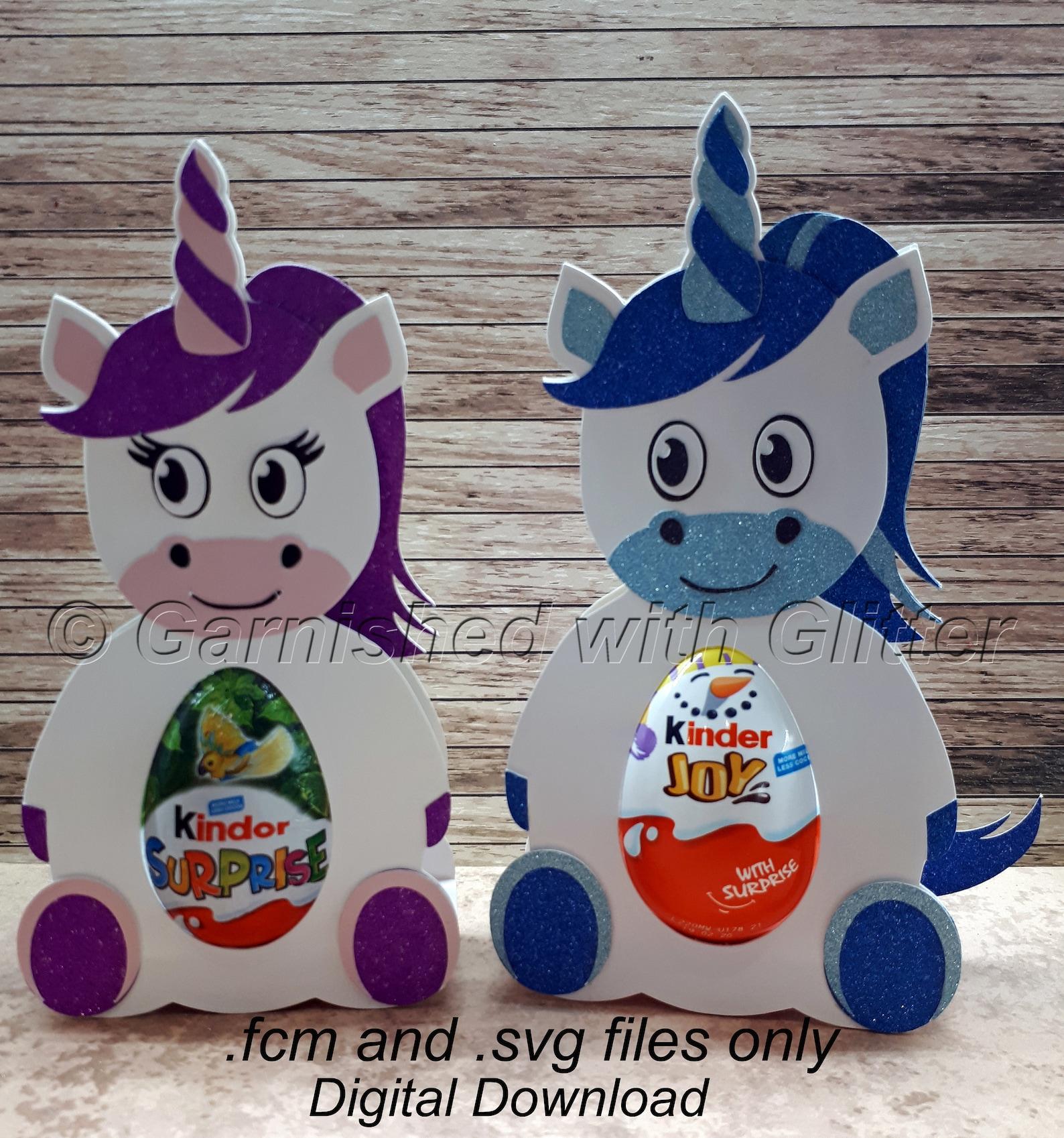 Unicorn Digital Download Cutting Files. fcm and svg. Suitable for Kinder JOY, Kinder Surprise and Creme Egg Sized confectionery