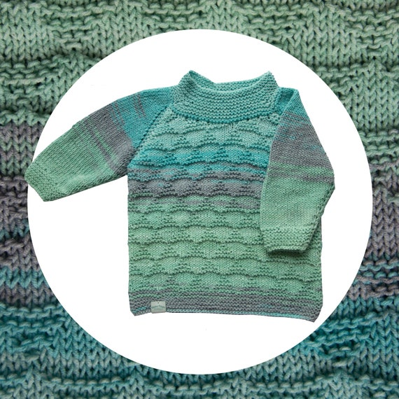 Gradient Sea hand made sweater for childrenGradient Marine Color Hand Knitted Kids Sweater