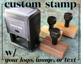 Custom Rubber Stamp - Logo Stamp - Business Branding - Return Address - Wedding - Business Card - Personalized text or image - Self Inking