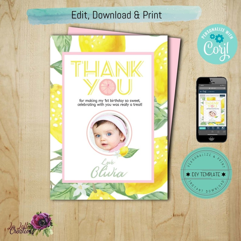 Photo Thank You Card Lemon 1st Birthday Themed Editable By With Corjl