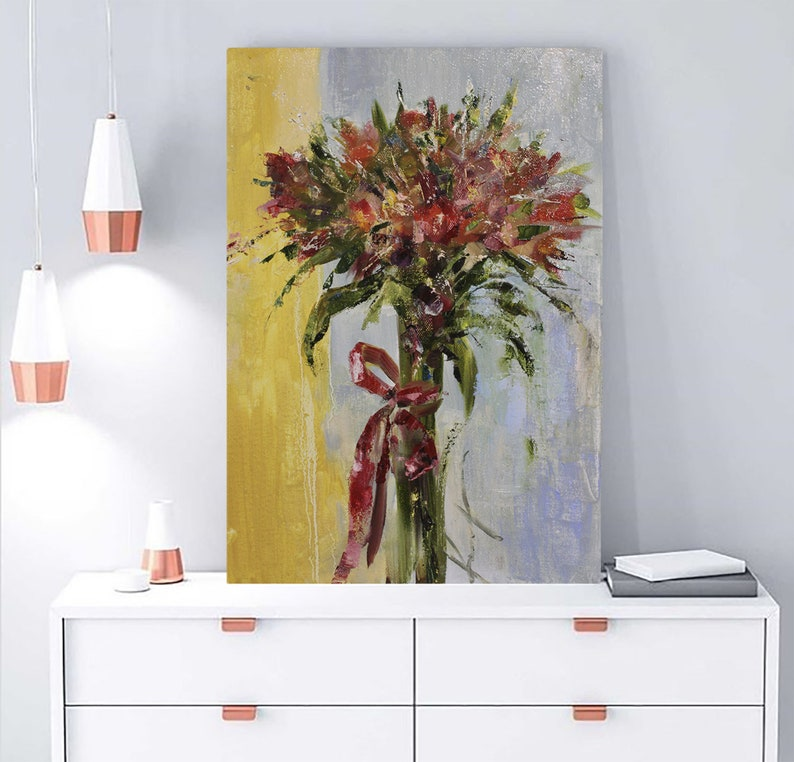 Original oil painting Bouquet Of Alstroemeria Oil flowers  oil painting Painting on canvas Gift Birthday Wedding PAINTING FOR INTERIOR