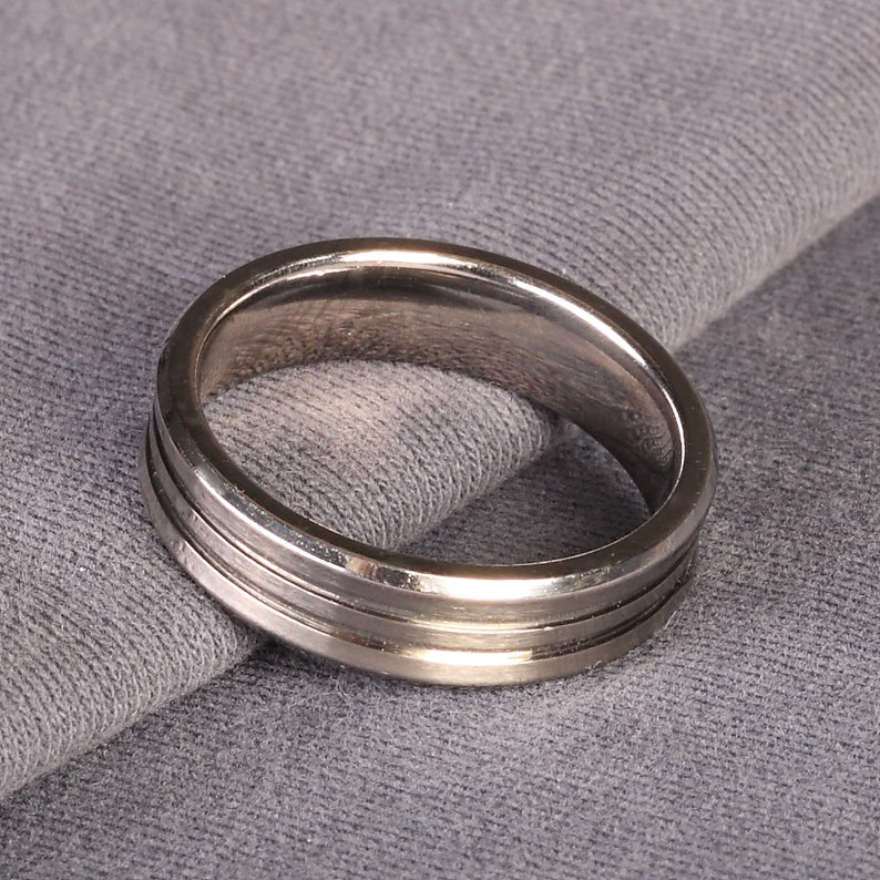 Lined Wedding ring Gents Wedding Ring 6mm Gents Concave Titanium Wedding Band Concave Wedding Band Personalised Titanium Wedding Ring