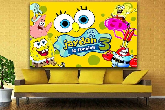 Astonishing Spongebob Birthday Backdrop Spongebob Backdrop Spongebob Birthday Decoration Backdrop Digital Gmtry Best Dining Table And Chair Ideas Images Gmtryco