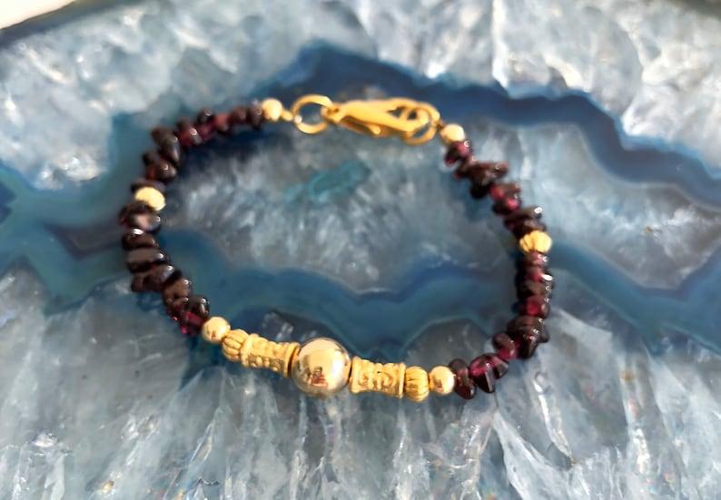 valentine/'s  gift for love Vintage mid century style bracelet Garnet with Gold filled bracelet January birthstone bracelet for her