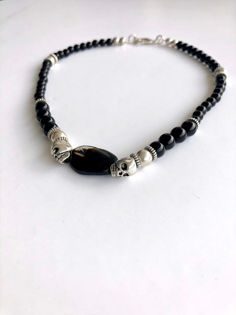Short skull necklace for men and women 925 sterling silver with black onyx goth necklace Valentine/'s day gift