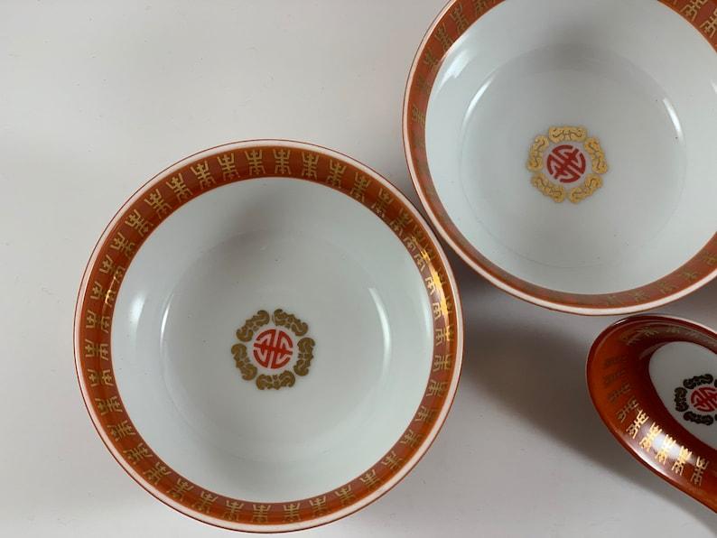 Vintage Taiwan Taipei Oriental Porcelain bowls and spoon