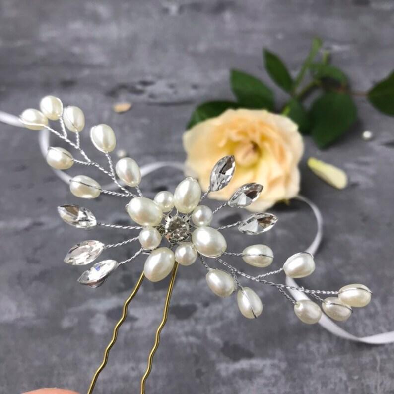 silber Haarnadel Asti Perlen Kristall Blume Haarschmuck f\u00fcr Braut BrautjungferTrauzeuginBlumenm\u00e4dchen Vintage BBIL Hochzeit