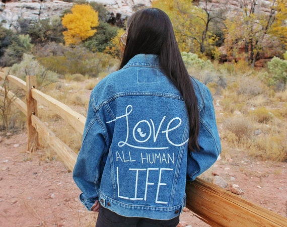 Love All Human Life Denim Jacket