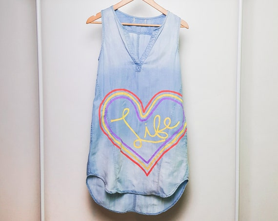 Chambray Rainbow Love Life Dress (S)