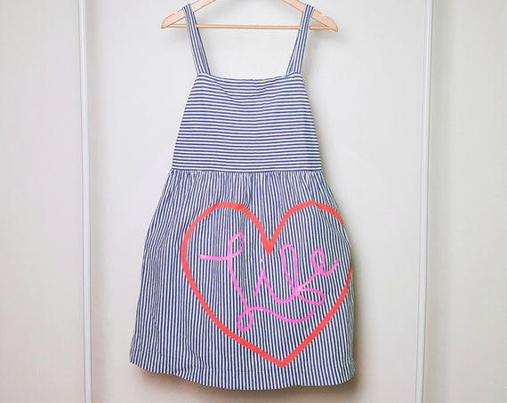 Blue & White Striped Love Life Dress (L)