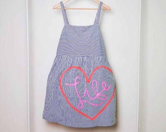 Blue & White Striped Love Life Dress (L)