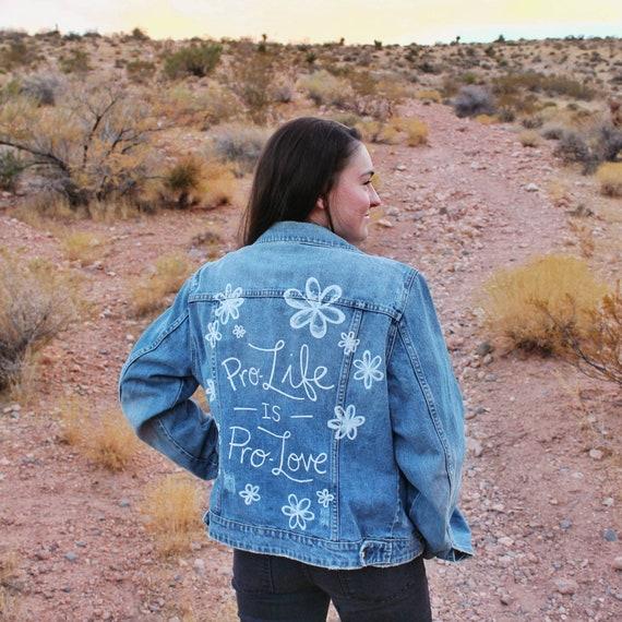 Floral Pro-Love Pro-Life Denim Jacket