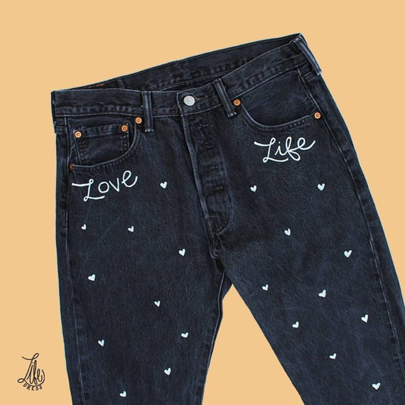 Love Life Hearts Black Jeans (L)