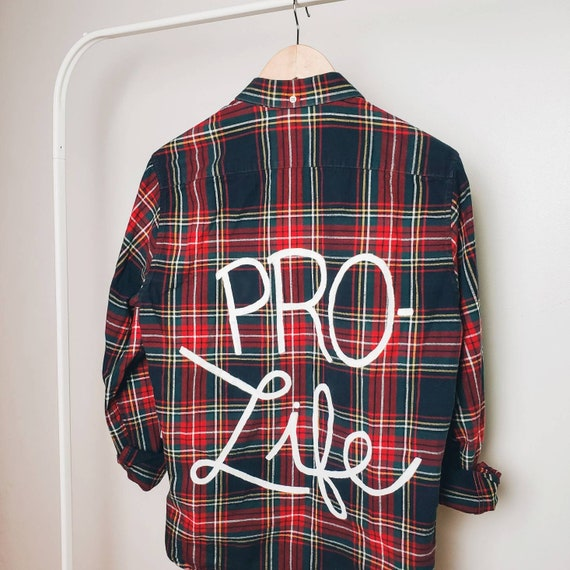 Red & Navy Pro-Life Flannel (M)
