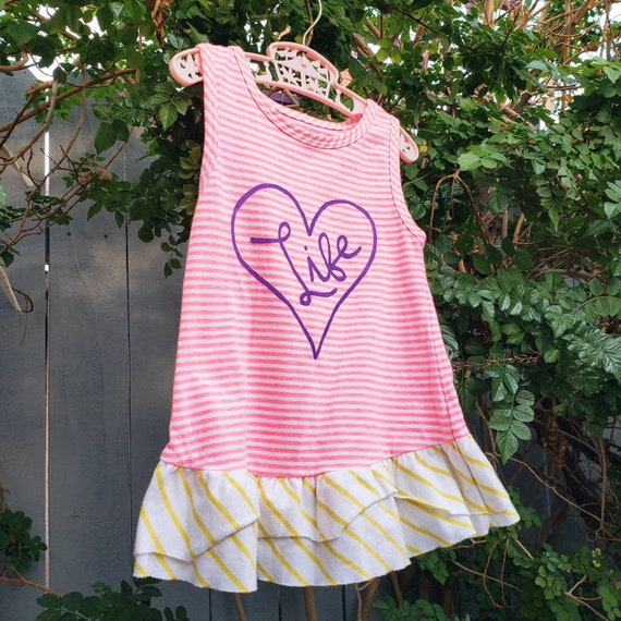Pink Striped Love Life Dress (24 m/o)