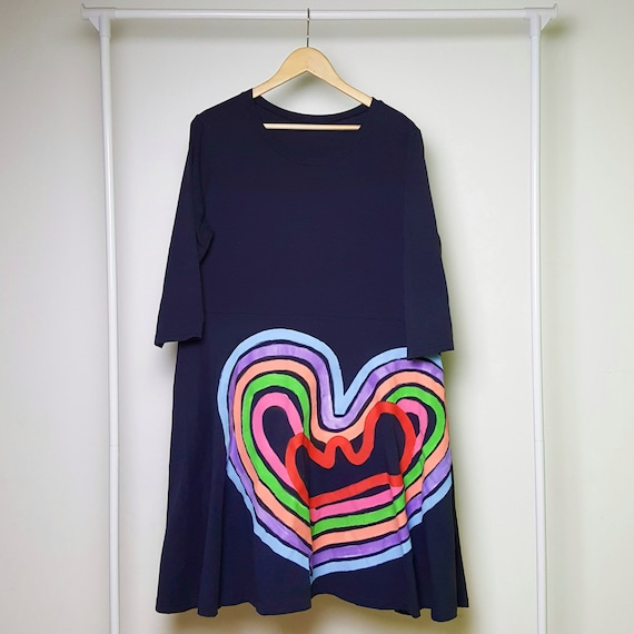 Navy Blue Rainbow Life Dress (XXL)