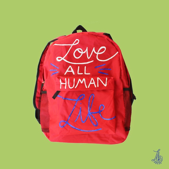 Red Love All Human Life Backpack