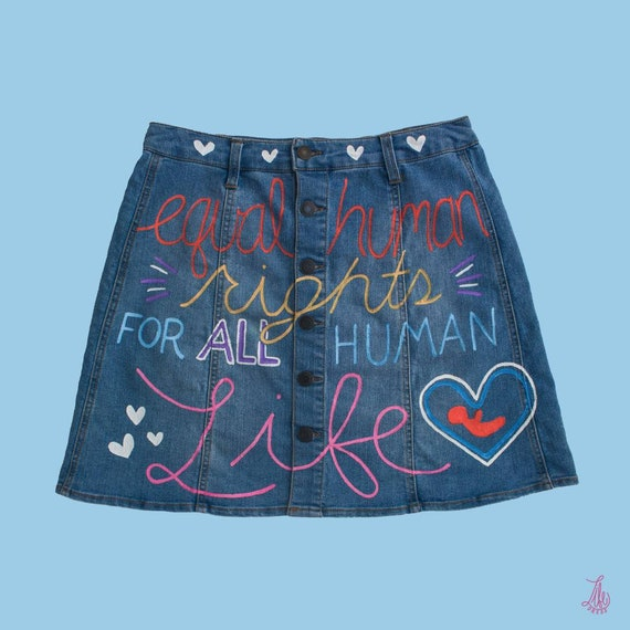 Rights for All Life Denim Skirt (L)