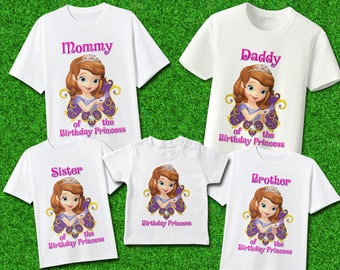 Sofia The First Family Shirts Birthday Party Decor Supplies Favor Merch Set 3