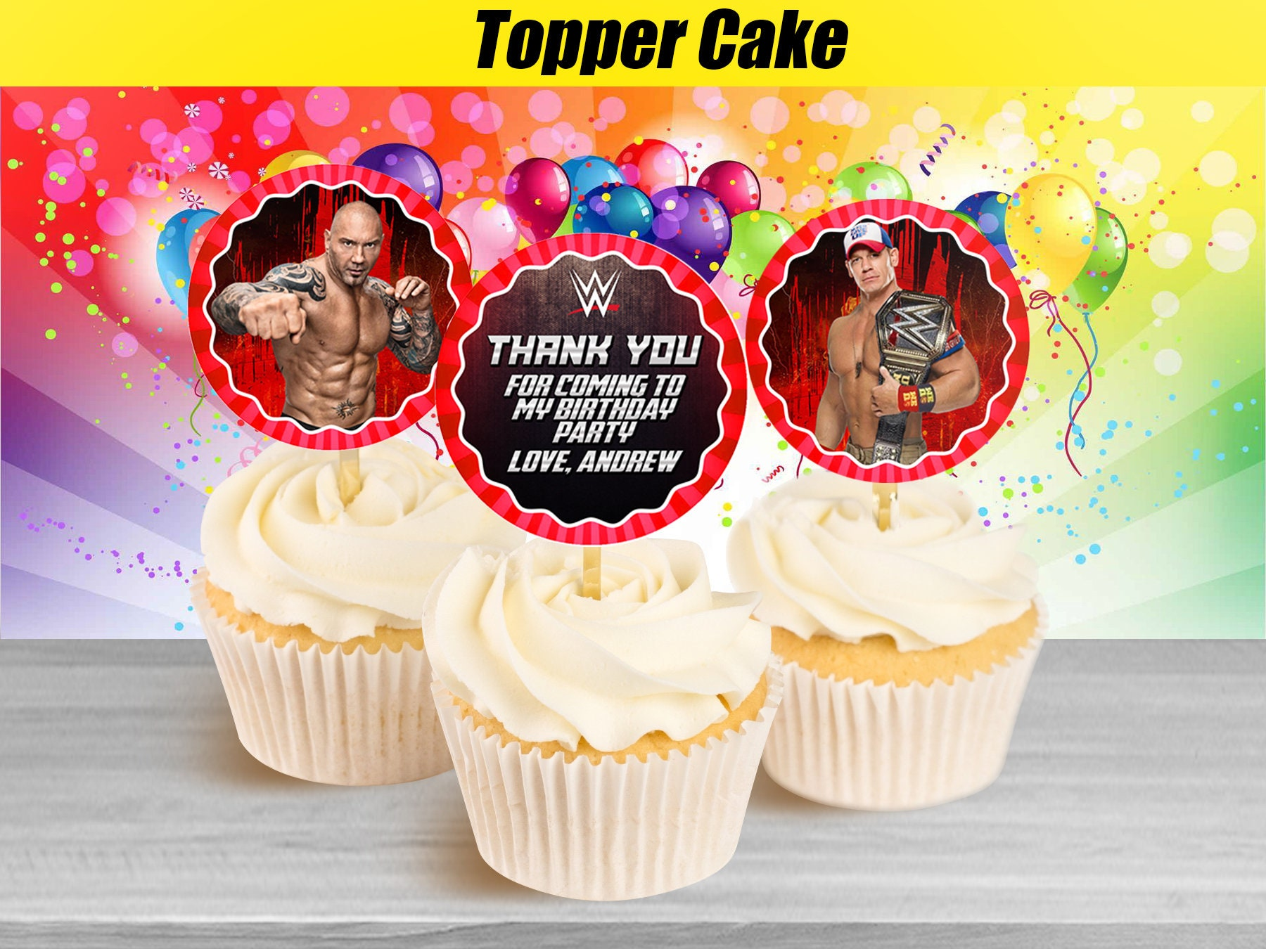 Remarkable Wwe Cupcake Toppers Wwe Birthday Cupcake Toppers Cupcake Etsy Personalised Birthday Cards Cominlily Jamesorg