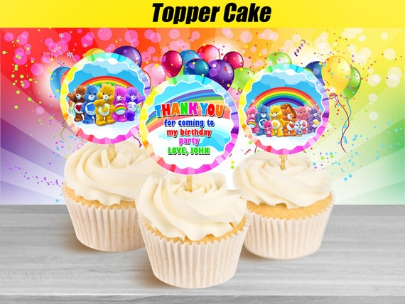 Swell Care Bears Cupcake Toppers Care Bears Birthday Cupcake Etsy Funny Birthday Cards Online Alyptdamsfinfo