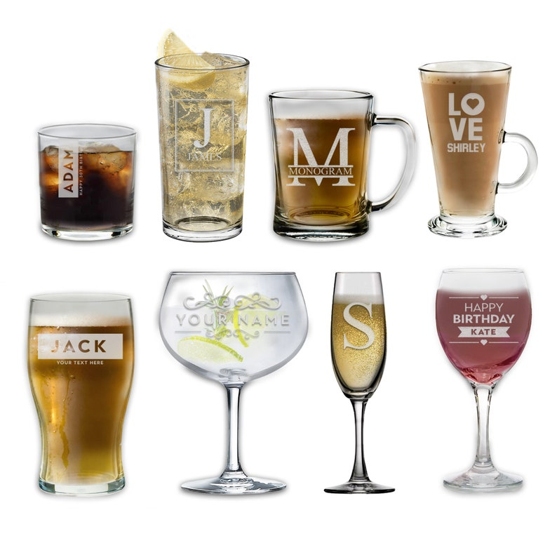 Personalised Glass Multiple Designs & Glass Types  Wine image 0