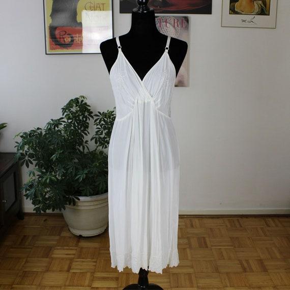Vintage White Boho Dress, Slip Dress, Retro Nightg
