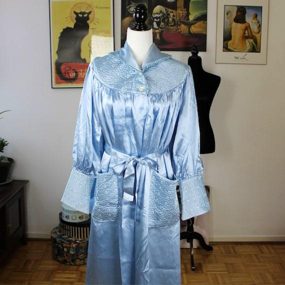 Ann Gordon Housecoat, 1940s Blue Satin Robe, Vinta