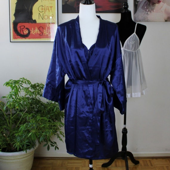 Le Boudoir Peignoir Set, Royal Blue Negligee and R