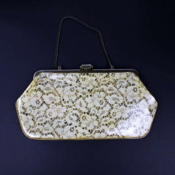 Vintage Plastic Gold and White Lace Clutch, Vintag