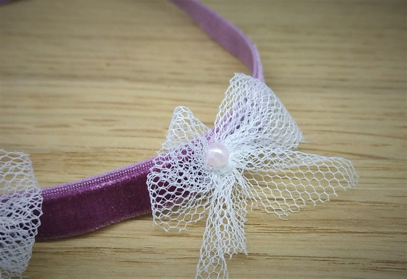 pearls and bows. Velvet headband with tulle