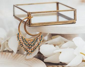 Seed Bead Earrings, Moon Earrings, Beaded Fringe Earrings, 40th Birthday Gifts for Women, Mother in Law Gift,