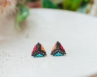 Beaded Stud Earrings, Triangle Earrings,  Triangle Stud Earrings, Seed Bead Earrings, 30th Birthday Gift for Her,