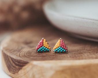 Beaded Stud Earrings, Triangle Beaded Earrings, Triangle Stud Earrings, Soul Sister Gift, High School Graduation Gift for Her,