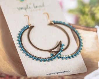 Beaded Moon Earrings, Seed Bead Earrings, Crescent Moon Earrings, Boho Earrings, Witchy Gifts, Christmas Gifts for Sister,