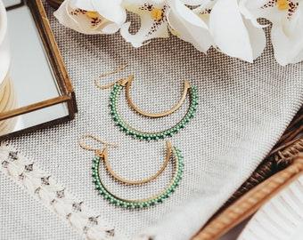 Crescent Moon Earrings, Beaded Earrings, 3rd Anniversary Gift, Girlfriend Gift,