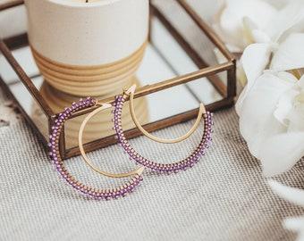 Crescent Moon Earrings, Beaded Moon Earrings, Seed Bead Earrings, Gifts for Moon Lovers, Beaded Moon Earrings, Witch Earrings, Gift for Her,