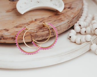 Beaded Earrings, Seed Bead Earrings, Beaded Moon Earrings, Pink Beaded Earrings, Dangle Earrings, Christmas Gifts for Women,
