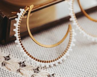 Boho Beaded Earrings, Seed Bead Earrings, Crescent Moon Earrings, 40th Birthday Gifts for Women, Sister Gift,