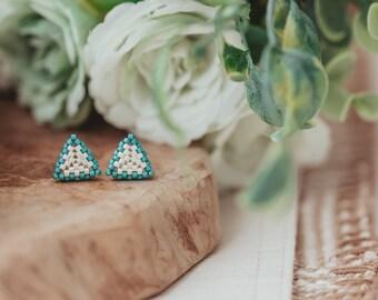 Beaded Stud Earrings, Colorful Stud Earrings, Seed Bead Earrings, Gifts for Teens, Birthday Gift for Teens,